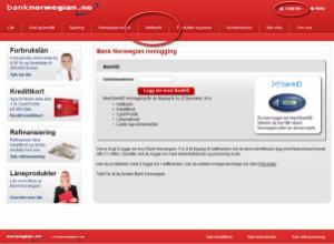 Hjemmesiden til Bank Norwegian