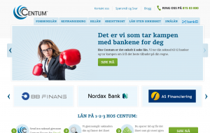 Hjemmesiden til lånemegleren Centum