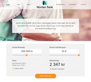 Skjermbilde fra Nordax lån sine hjemmesider