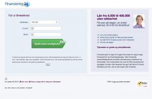 Hjemmesiden til Finansiering24 - Viser det enkle søknadskjemaet.